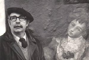 El pintor gallego Laxeiro frente a una de sus obras expuestas en el Museo Nacional de Arte de la ciudad de Buenos Aires, Argentina