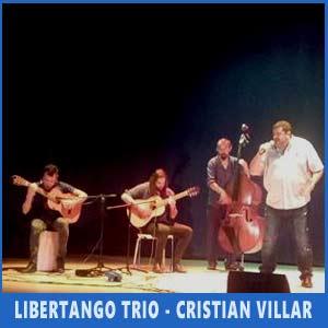 Libertango Trío y el cantor Cristian Villar actuando en el Festival Argentino de Vigo - Auditorio de Teis, 8 de julio 2017