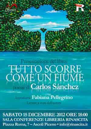 """Portada del libro de poesía """"Todo fluye como un río"""" del poeta argentino Carlos Sánchez"""