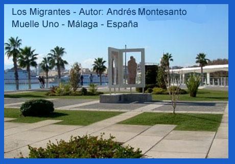 Los Migrantes, obra escultórica del argentino Andrés Montesanto, emplazada en el Muelle Uno del puerto de Málaga, España