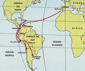 Mapa que muestra las rutas comerciales entre España y América en los años de la colonización y posterior organización en virreinatos
