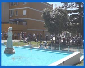 Aspecto del emplazamiento de la escultura de María Soliña en Parque da Palma en Cangas de Morrazo, Pontevedra, Galicia, España