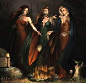 Escenificación de un aquelarre en Galicia, con reunión de meigas