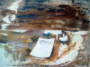 """Mensaje 4, obra de la serie """"Mensajes y comunicación"""" de la pintora argentina Silvia Bregar, afincada en la Isla de Mallorca, Baleares, España"""