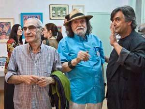 Martín Poni Micharvegas, pintor, poeta, cantante, psiquiatra... argentino, junto al pintor mendocino Julio Ovejero.