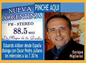 Enrique Migliarini desde Vigo habla y canta el tango Vieja Aldea presentado por Eduardo Aldiser en Radio Nueva Argentina de Ituzaingó, programa de Oscar Pedro Juliano