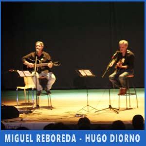El dúo de Miguel Reboreda y Hugo Diorno, ambos de Adrogué, residentes en Galicia, actuando en Vigo