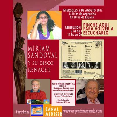 Programa Un estilo diferente, Radio Nueva Argentina de Ituzaingó, Buenos Aires, con la presencia de la cantautora Miriam Sandoval, de Sarandí residente en Vigo