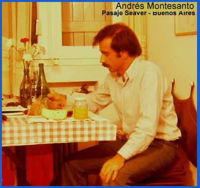 Andrés Montesanto, siendo un joven médico, en su piso del Pasaje Seaver de Buenos Aieres, Argentina