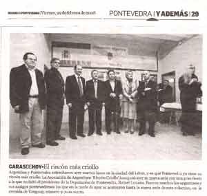 Nota periodística en la que destaca la inauguración de la Asociación Argentina Rincón Criollo de Pontevedra, Galicia, España