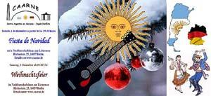 Tarjeta de invitación a la Fiesta de Navidad 2012 de CAARNE Centro Argentino en Alemania NorEste, con sede en Berlín