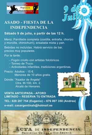 Cartel de la Fiesta de la Independencia programada por la Casa Argentina de Alcalá de Henares, 9 de julio 2011