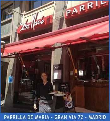 Parrilka De María de Gram Vía 72 de Madrid, uno de los locales de esa cadena de locales de Argentina con vinos y carnes importados de origen, donde Eduardo Aldiser entrevistó en 2003 a personajes importantes de Argentina