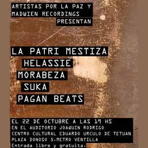 Cartel del evento Artistas por La Paz en Madrid, con la presencia de Patricia Ferro Olmedo, cantautora argentina