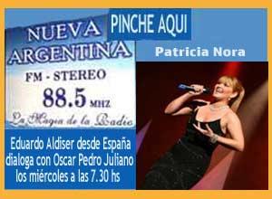 La cantante argentina Patricia Nora cierra la participación de Eduardo Aldiser en Radio Nueva Argentina de Ituzaingó, Buenos Aires, en el programa de Oscar Pedro Juliano