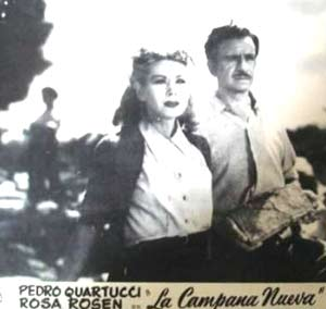 """Pedro Quartucci y Rosa Rosen en un fotograma de la película argentina """"La campana nueva"""""""
