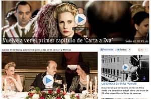 """Enlace para ver por Televisión Española la primera parte de la Miniserie """"Carta para Eva"""" y el documental sobre Eva Duarte de Perón"""