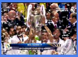 Imagen de REAL MADRID TELEVISION recordando el momento en que ganaban en Lisboa la Décima Champions. Un reloj de cuenta regresiva indica las horas que faltan para la final de Milano 2016