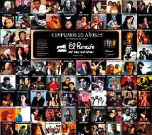 Cartel de celebración de los 25 años de El Rincón de los Artistas de Vigo, España, local que regenta el cantante y guitarrista argentino Daniel Calá