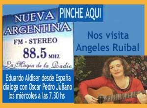 La cantante Angeles Ruibal comenta y canta a Nosa Señora da Barca en el programa de Oscar Pedro Juliano - Radio Nueva Argentina FM 88.5 - Ituzaingó, Argentina, con Eduardo Aldiser