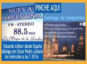 Eduardo Aldiser en el programa de Radio Nueva Argentina FM 88.5 que dirige Oscar Pedro Juliano, desde Ituzaingó, Buenos Aires, Argentina