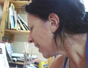 Susana Negri, artista plástica argentina, en su estudio del Penedés, Provincia de Barcelona, Cataluña, España.