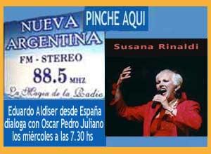 Programa de Oscar Pedro Juliano, Radio Nueva Argentina FM 88.5 Ituzaingó, Argentina, con Eduardo Aldiser y la cantante Susana Rinaldi