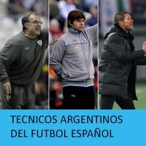 Tres de los técnicos argentinos presentes en la liga española, Marcelo Bielsa, Mauricio Pochettino y Diego Pablo Simeone