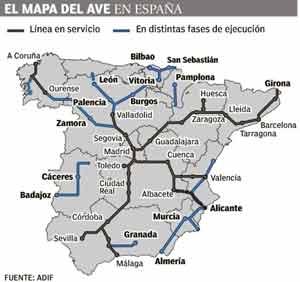 Mapa del AVE Alta Velocidad Española. En negro, los tramos en funcionamiento a Junio 2013. En azul, los tramos en distintas etapas de proyecto o construcción