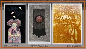 """Obras de los tres artistas participantes en la muestra """"Huellas del Viento"""" en Centro de Edición, San Martín, Provincia de Buenos Aires, Argentina"""
