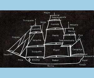 Croquis con los nombres marineros de cada parte de un barco. Aparece señalada una de las vergas, habiendo tantas como velas se despliegan. En Argentina se llama también verga al órgano reproductor masculino