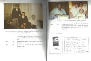 """Fascimil de dos páginas enfrentadas del libro """"Atahualpa Yupanqui, Asuntos del alma"""". En una de las fotos Don Ata se apresta soplar su torta del 80 cumpleaños"""